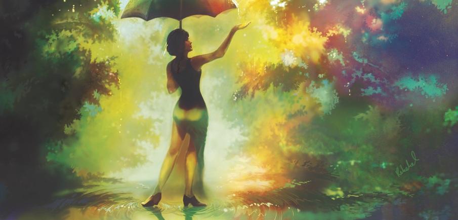 Rain in the Sun  Rebekah Tisch  Illustration # Sunshower Girl_152314