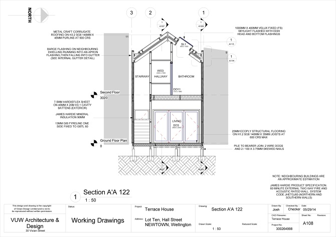 Terrace house construction drawings for Terrace khurra detail