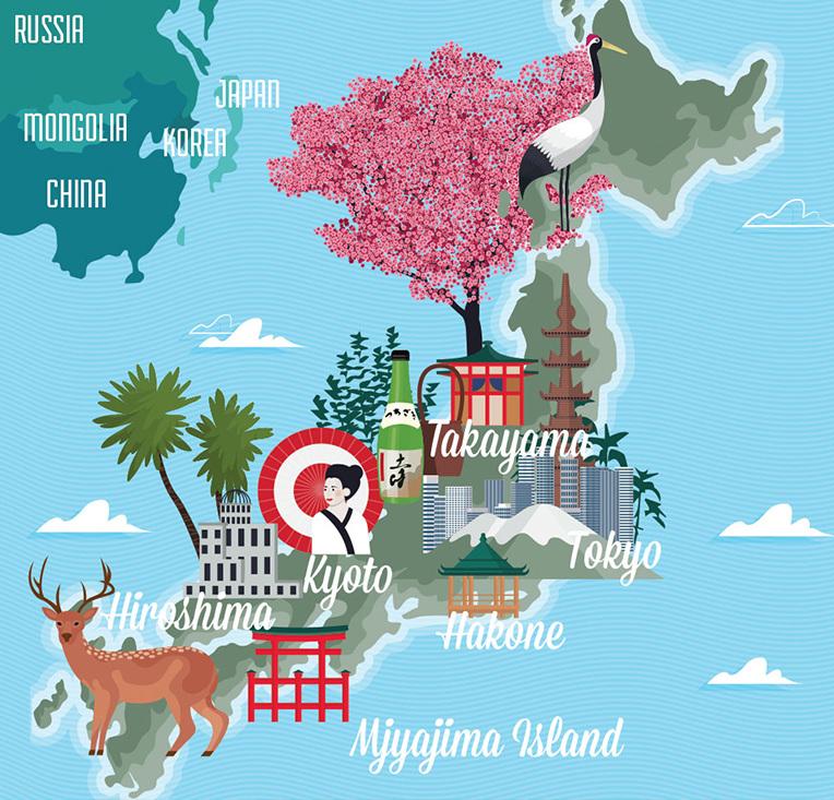 Japan James Boast - Japan map cartoon